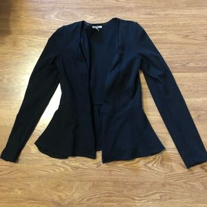 Black peplum cotton blazer